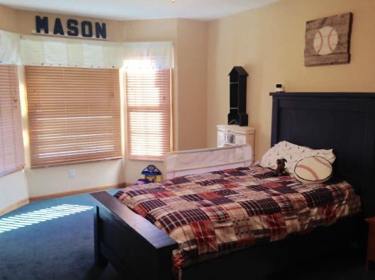 Boys Baseball Bedroom with farmhouse bed