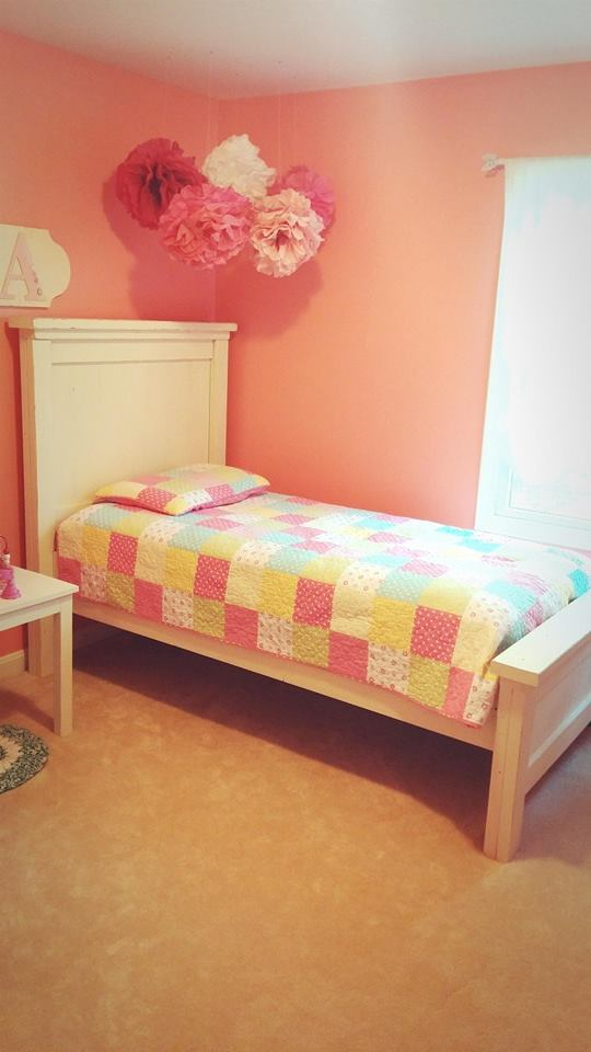 Girls Bedroom with farmhouse bed
