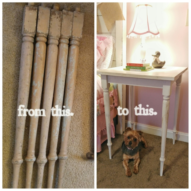 DIY Nightstand from banister spindles